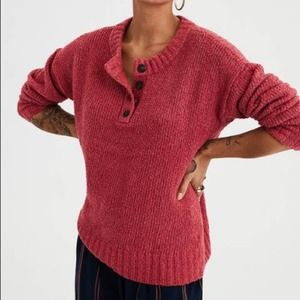 AMERICAN EAGLE Red Henley Jegging Fit Sweater XS